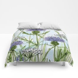 Thistle White Lace Watercolor Comforters