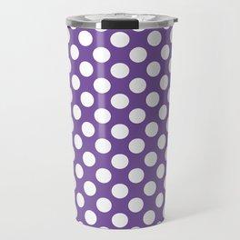 White Polka Dots with Purple Background Travel Mug