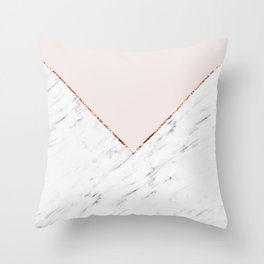 Peony blush geometric marble Throw Pillow