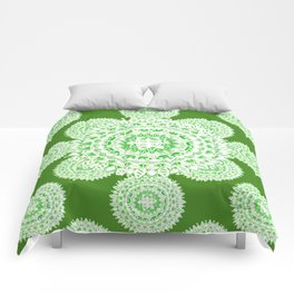 Bright Green Metallic White Mandala Textile Comforters