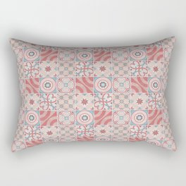 Patchwork pattern - Quilt Design - red, pink, blue Rectangular Pillow