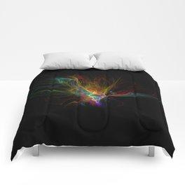 Fractal on black Comforters