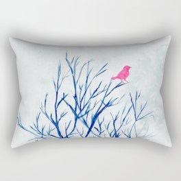 Perching bird on winter tree Rectangular Pillow