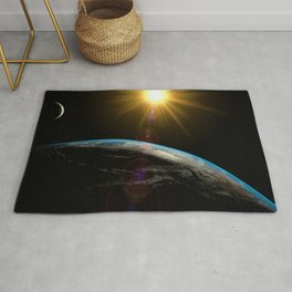 earth sun and moon Rug