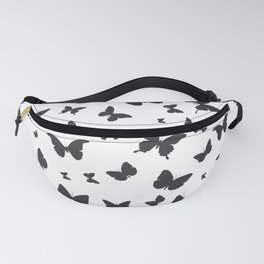 black butterflies silhouette pattern on white background Fanny Pack