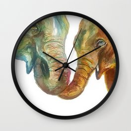 Mommy and Baby Elephant Wall Clock