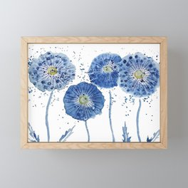 four blue dandelions watercolor Framed Mini Art Print