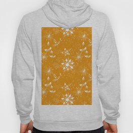 White floral doodles on orange Hoody