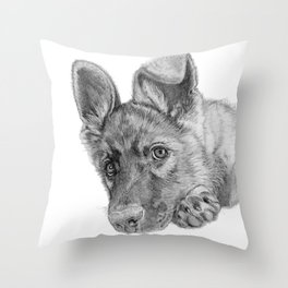 Patience :: A German Shepherd Puppy Throw Pillow
