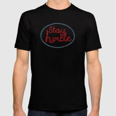 Stay Humble Black MEDIUM Mens Fitted Tee