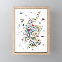 Animal Map of Scotland for children and kids Framed Mini Art Print