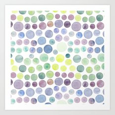 Dots purple and green Art Print