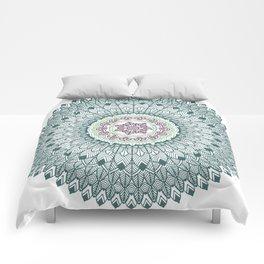 Color teal and purple feather mandala hippie boho Comforters