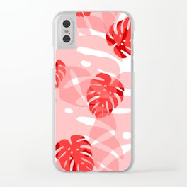 red monstera Clear iPhone Case
