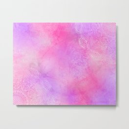 Boho abstract mandala in pink-purple colors Metal Print