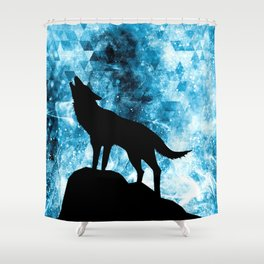 Howling Winter Wolf snowy blue smoke Shower Curtain