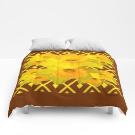 Coffee Brown Pattern of Golden Daffodils Art Comforters