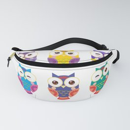 bright colorful owls on white background Fanny Pack