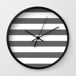 Simply Striped in Storm Gray and White Wall Clock