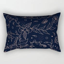 Rose Gold foil floral pattern and geometric triangles on navy blue Rectangular Pillow