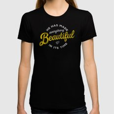 BEAUTIFUL IN TIME X-LARGE Black Womens Fitted Tee
