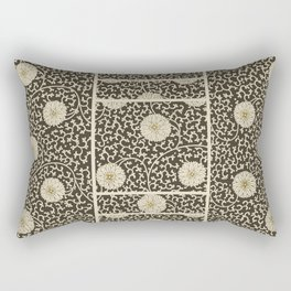 Retro Floral Black Rectangular Pillow