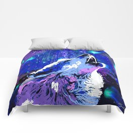 WOLF MOON AND SHOOTING STARS Comforters