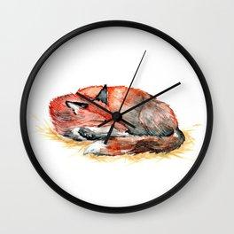 Sleeping Fox Watercolor Wall Clock