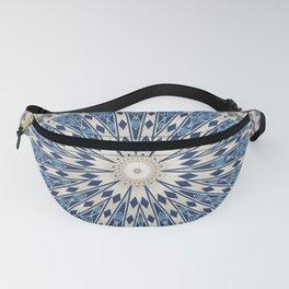 Bright Blue Marble Mandala Design Fanny Pack