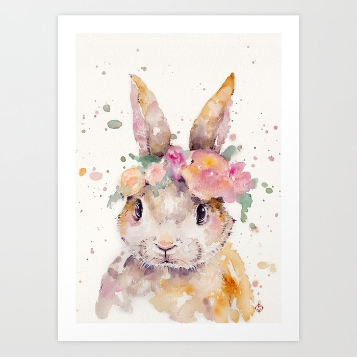 Sunday's Society6 | Happy eastern bunny with flowers, art print