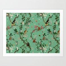 Monkey World Green Art Print