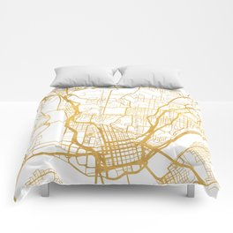 CINCINNATI OHIO CITY STREET MAP ART Comforters