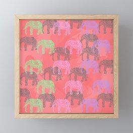 Colorful elephant pattern Framed Mini Art Print