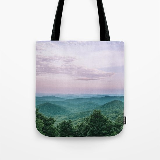 Pink Sunset over the Blue Ridge Mountains Tote Bag