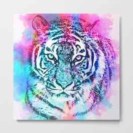 Sketched Colourful Tiger  Metal Print