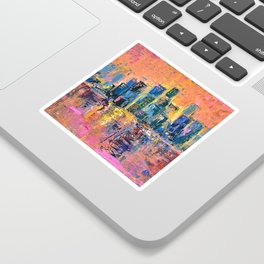 Pink Sky - abstract painting New York city skyline at sunset impressionism acrylic Sticker
