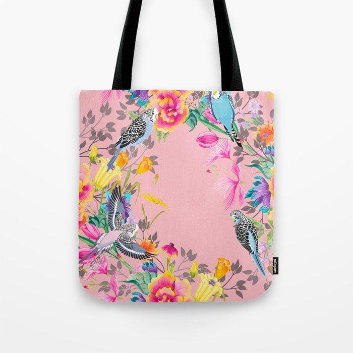 Stardust Pink Floral Birds Motif Tote Bag