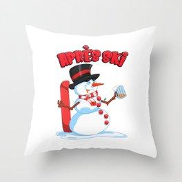 Drunken Snowman - Apres Ski Winter Skiing Lodge Throw Pillow