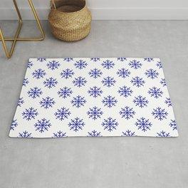Snowflakes (Navy Blue & White Pattern) Rug