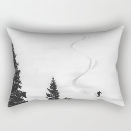 Backcountry Skier // Fresh Powder Snow Mountain Ski Landscape Black and White Photography Vibes Rectangular Pillow