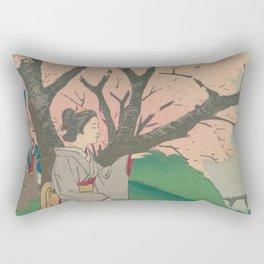 Sakura tree with people Rectangular Pillow