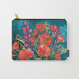 California Poppy and Wildflower Bouquet on Emerald with Tigers Still Life Painting Carry-All Pouch