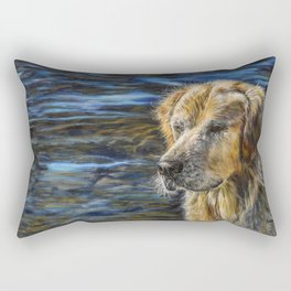 One Wet Golden Retriever by Teresa Thompson Rectangular Pillow