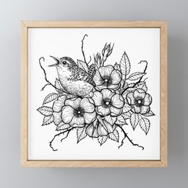 Wren bouquet Framed Mini Art Print