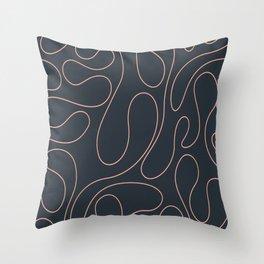 Peach Curves Blue Throw Pillow