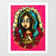 Lady Of Guadalupe (Virgen de Guadalupe) PINK VERSION Art Print