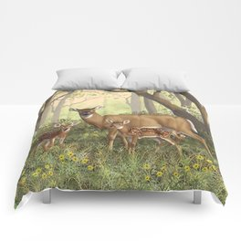 Whitetail Doe and Cute Twin Fawns Comforters