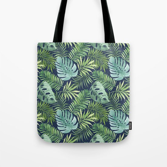 Tropical Branches on Dark Pattern 06 Tote Bag