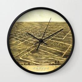 Bird's Eye View of Newton, Jasper County, Iowa (1868) Wall Clock