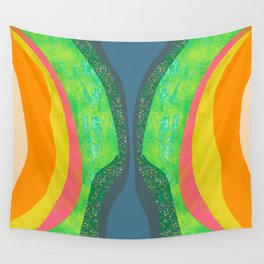 Shapes and Layers no.25 - Abstract painting Blue, Green, pink, yellow orange Wall Tapestry
